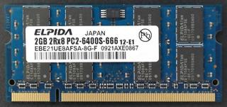 Memoria Ddr2 P/laptop Elpida 2gb Pc2-6400s-666 Modelo Ebe21ue8afsa-8g-f