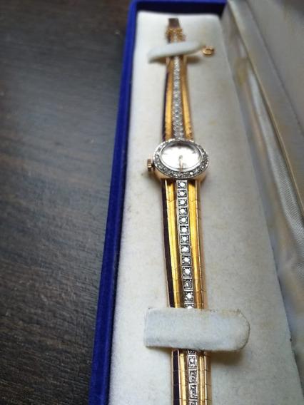 Relógio Feminino Omega Antigo De Ouro E Brilhantes - Raro