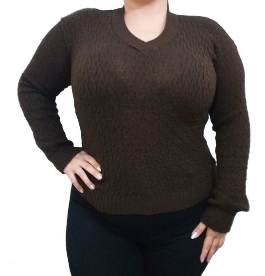 Sweater Abrigado Calado Tejido Escote V Invierno Mujer