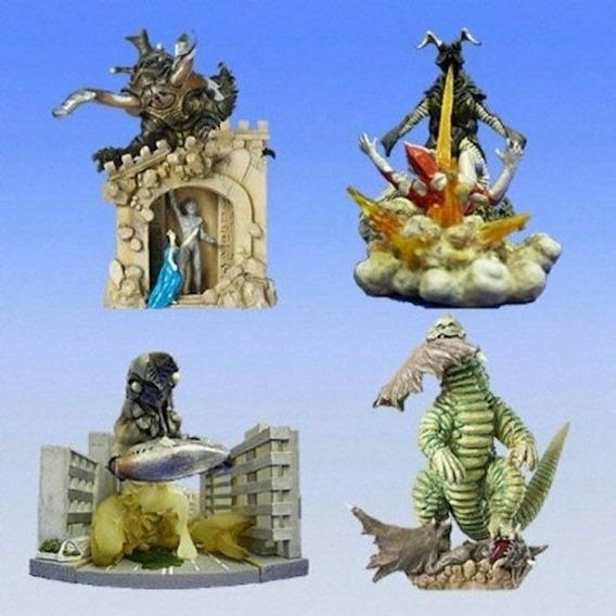 Kit 4 Figuras Diorama Bandai Kaijus Ultraman Part2 Godzilla