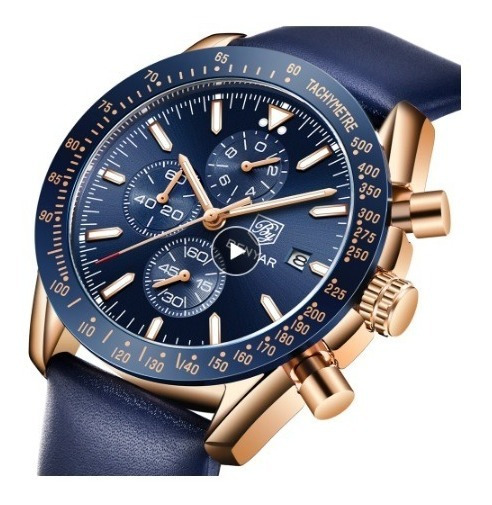 Relógio Masculino Benyar 5140 Original Rosé/azul Couro Legit