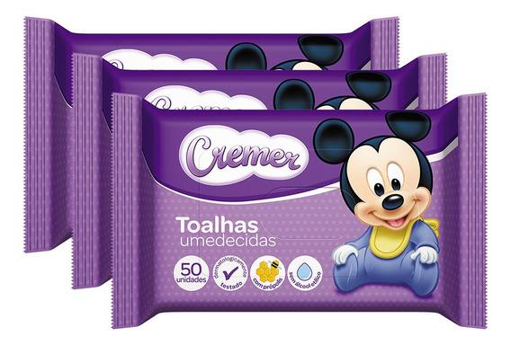 Kit Lenço Umedecido Cremer Disney - 150 Unidades