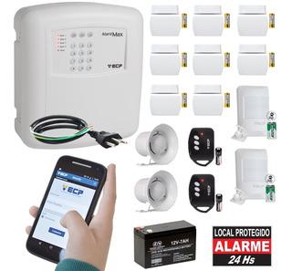 Kit Alarme Residencial Gsm Ecp Chip Sem Fio 10 Sensores Max4