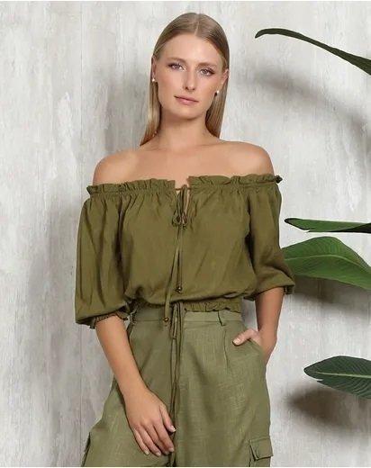 Blusa Cropped Ombro A Ombro Verde