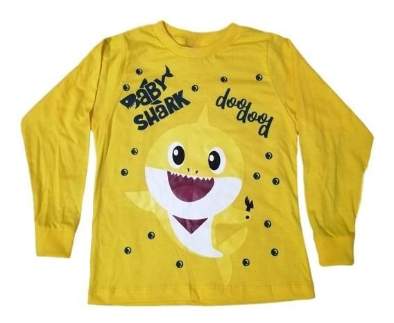 Camiseta Infantil Baby Shark Manga Longa Lançamento Promoção