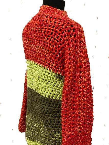 Sueter Crochet/rojo/tejidos Artesanales/mangas Largas