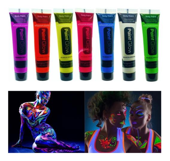 12 Tubo Pintura Fluorescente Neon Corporal Maquillaje Luz Uv