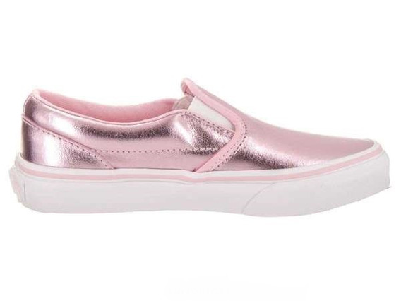Tenis Vans Mujer Rosas Brillante Classic Slip On Vn0a32qinf8