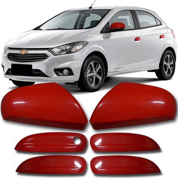 Kit Capa Chevrolet Onix Prisma Vermelho Maçanetas Retrovisor