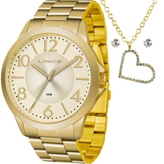 Kit Relógio Lince Feminino Colar E Brincos Lrgj080lkv86c2kx