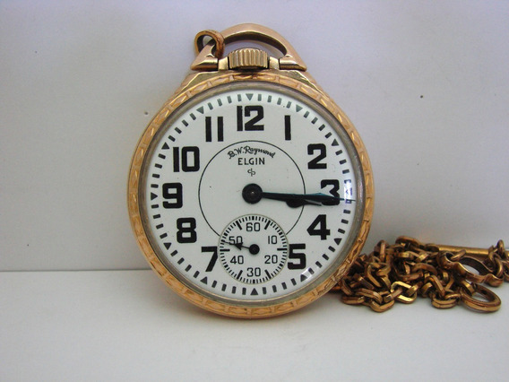 Reloj De Bolsillo Elgin B.w. Raymond 21 Joyas 8 Adjustments
