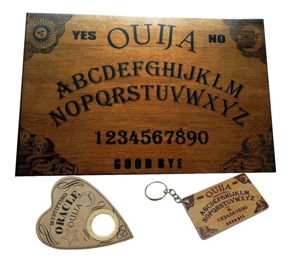 Tabuleiro Ouija Envernizado Com Ponteiro E Chaveiro