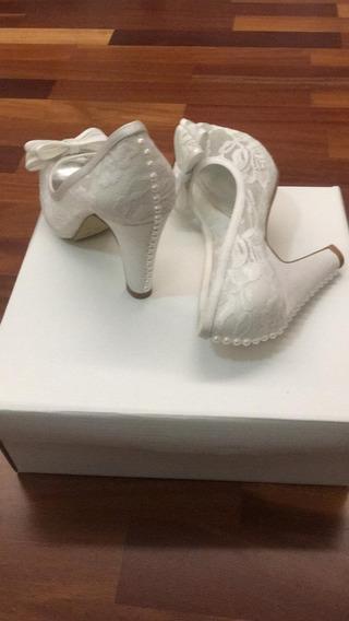 Sapato Noiva Peep Toe Renda Com Strass Tam. 34 Usado 1 Vez