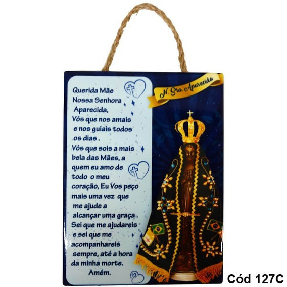 Quadro Placa Decorativa Nossa Senhora Aparecida Oração 127c