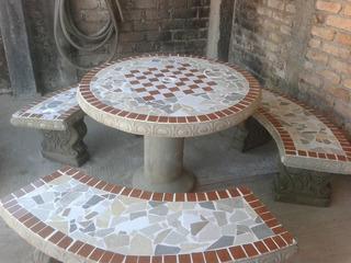 1 Juego De Mesa Y Bancas De Concreto Para Jardin, Decoradas Con Azulejos Y Tablero Para Ajedrez Y Centro Para Paraguas