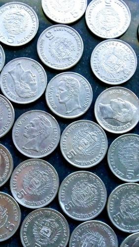 Monedas De Niquel Venezolana De 5 Bolívares 1973, 1977, 1989