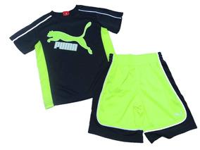 Conjunto Infantil Puma Menino Verão Short Original Neon 2a