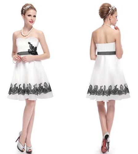 Vestido Importado Noiva 15 Anos Renda Bordado Branco Preto