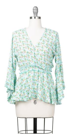 Blusa Floral Escote V Manga 3/4 Fresca, Peplum, Playa.