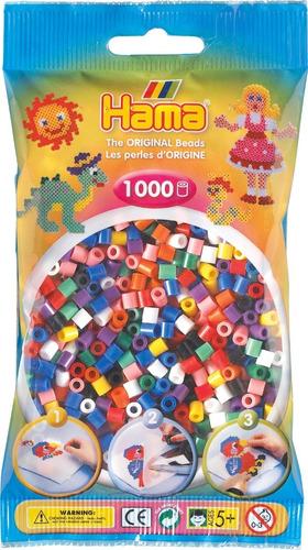 Hama Beads Midi Perler 1000 Unid Mix Colores Solidos Pixel