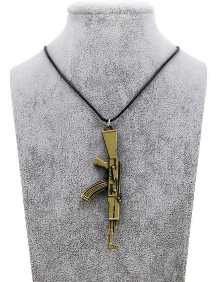 Cordão Colar Fuzil Ak 47 Dourado Corrente Frete Grátis
