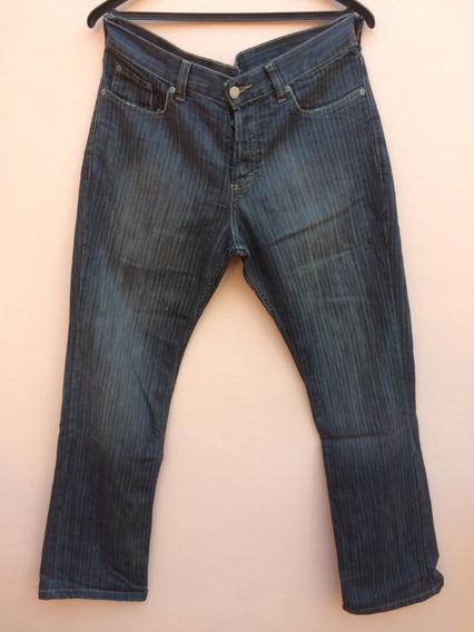 Jean Ona Saez Pantalon Hombre Gris Rayas Blancas Talle 43