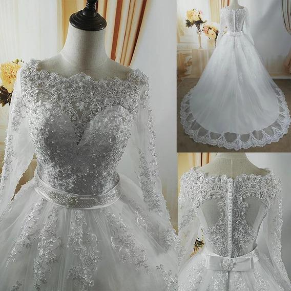 Vestido Noiva Perolas Manga Longa Sob Medida Promocao