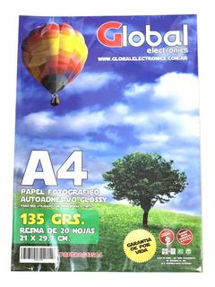 Papel Foto Autoadhesivo Resma A4 135 Gr Glossy X100 Hojas