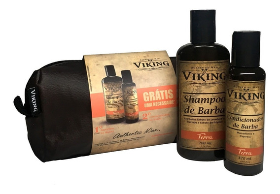 Kit Barba Viking Shampoo + Condicionador + Necessaire Barber