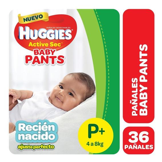 Pañales Huggies Active Sec Baby Pants P+ X 36 Recién Nacido