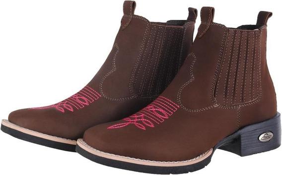 Bota Feminina Texana Cano Curto Em Couro Pessoni Boots Café
