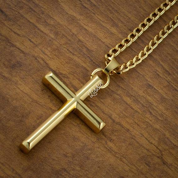 Colar Masculino Corrente Crucifixo Cruz Dourado