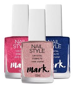 3 Esmaltes Avon Mark Nail Style Crystal Rosa Roxo Pink 10ml