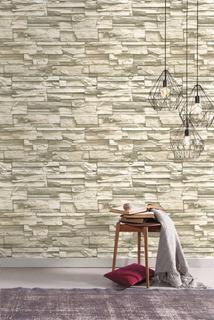 Moderno Natural Apilados Piedra Peel Y Palo Wallpaper Pp