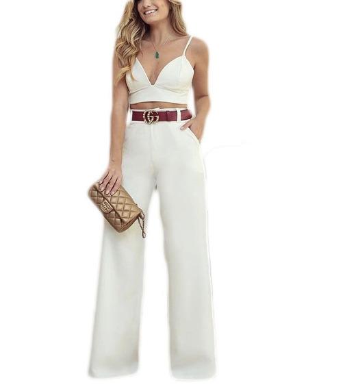 Conjunto Calça Flare Pantalona E Cropped Curto Bojo #cj25 De