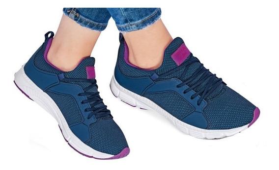 Tenis Pirma Mujer Training Runing Azul Marino Sin Agujetas