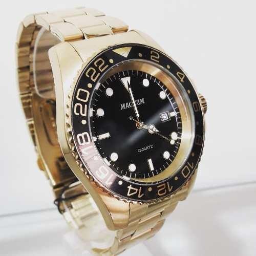 Relógio Magnum Masculino Dourado Ma32934u Estilo Rolex