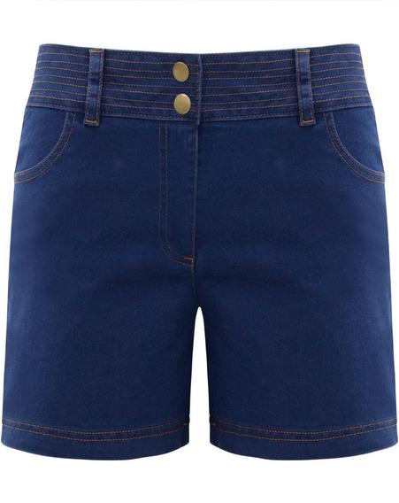 Shorts Feminino Cintura Alta Jeans Liso Bermuda Do 36 Até 42
