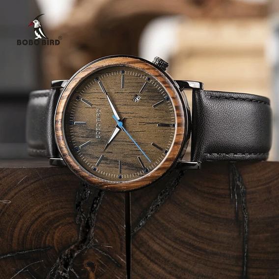 Relógio Masculino Bobo Bird Madeira Ecológica P. De Couro