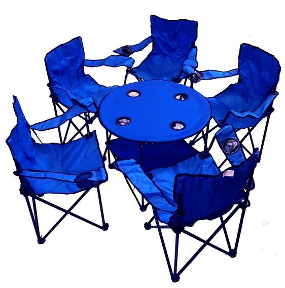 5 Silla Plegables De Playa Y Mesa Playa Alberca Camping