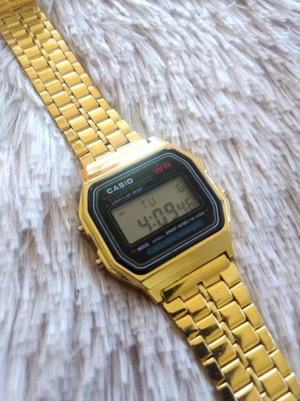 Relógio Unissex Casio Retrô Dourado E Preto Frete Grátis Top