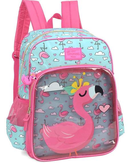 Mochila Up4you Petit Flamingo Rosa Escolar Costas Original