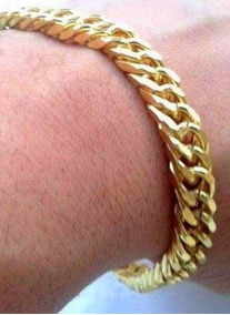 Pulseira Masculina Bracelete Banhada A Ouro 18k Grossa 12mm
