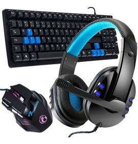 Kit Gamer Teclado Mouse 3000 Dpi Headset Pro Ps4 Pc Celular