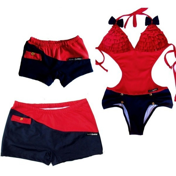 Tal Mãe Pai E Filho Maîô E Sunga Boxer Luxo Vermelho E Azul