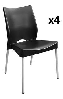 Silla Plástica Apilable Malba Hogar Jardin Quincho Pack X4 + Envio Gratis - Garantia Oficial