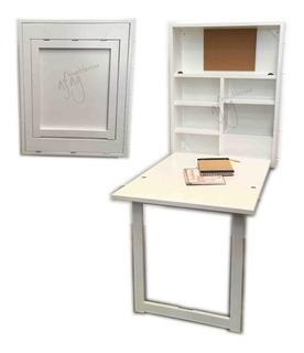 Escritorio Plegable Blanco Choco Pared Librero Mesa Abatible
