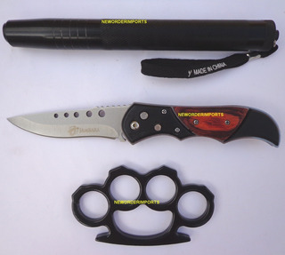 Kit Bastão Retrátil Aço+soco Inglês+canivete Automático Nfe