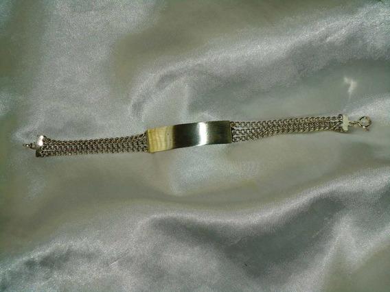 Linda,elegante Pulseira Masc.prata 925 P/nome,itália,déc80.