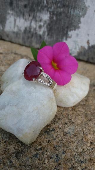 Anel Prata 925 Com Ruby Natural